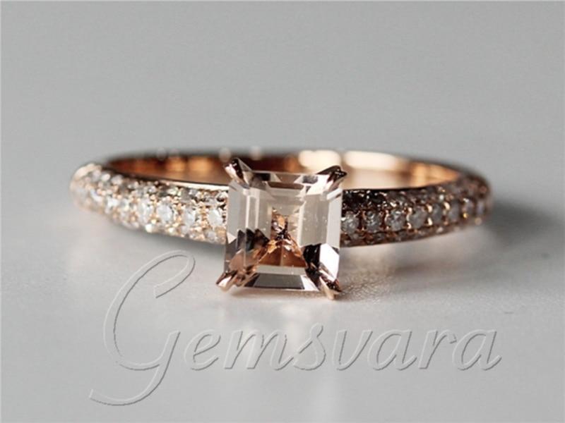 Vs Asscher Cut 1 25ct Morganite Diamond Claw Prongs 14k