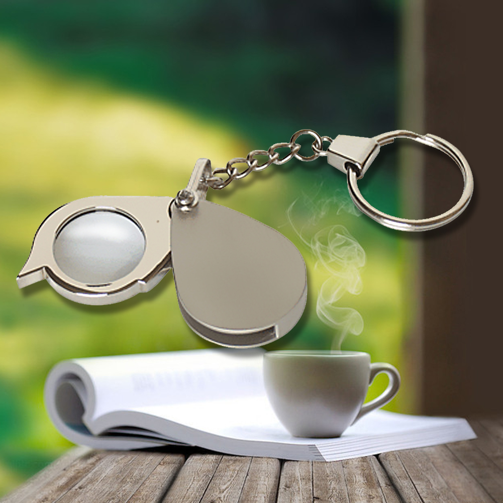 High Quality 8X Folding Key Ring Glass Magnifier With Key Chain Waterproof Daily Magnifying Pocket Tool
