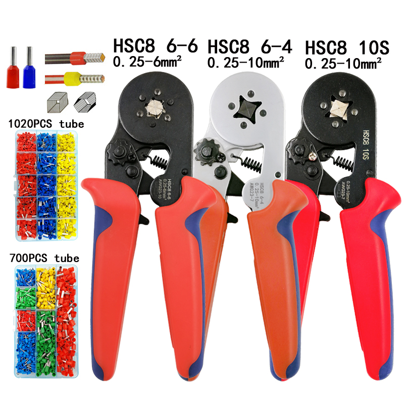 HSC8 10S 0.25-10mm2 23-7AWG crimping pliers HSC8 6-4 HSC8 6-6 mini round nose plier with tube needle terminals box hand tools craftsman 5 pc pliers set piece nose plier tool needle fast free ship