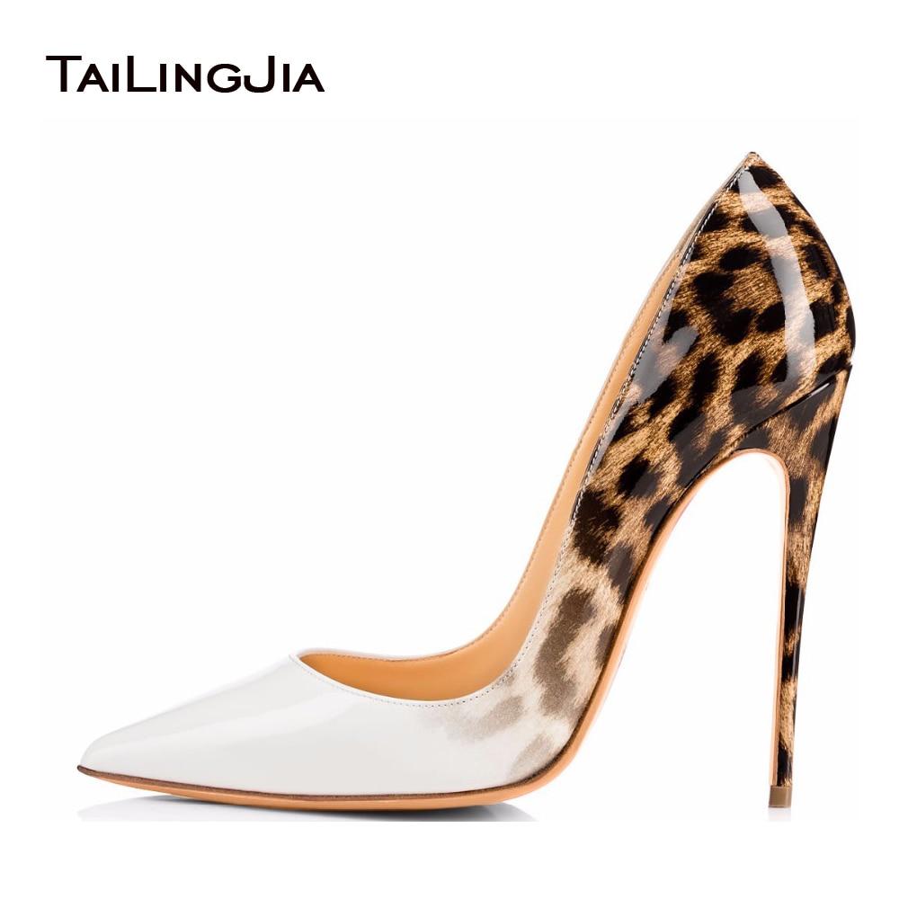 Tailingjia 여성 펌프 봄 2017 화이트 레오파드 신발 매우 높은 뒤꿈치 숙 녀 Stilettos 결혼식 신발 저녁 드레스 신발