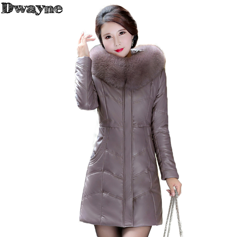 2017 Winter Coats Women Winter Jackets Middle Aged Female PU Leather Coats Cotton Padded Parka Mother's Gift Plus Size 8XL 8876