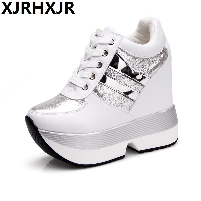 Woman Fashion Hidden Wedge Heel Lace Up Casual Shoes Spring Autumn Women's Ultra 13cm Heels Shoes Women Singles Height Increas hot selling black white women genuine leather shoes woman fashion hidden wedge heel lace up casual shoes size 33 40