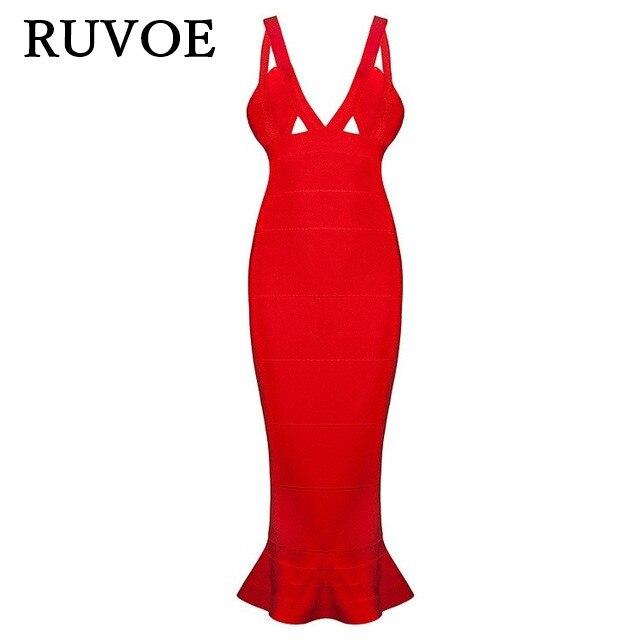 Red Deep V Neck Sleeveless Rayon Sexy Women Knitted Elastic Fishtai HL Elegant Bodycon Bandage New Year Party Knee-length Dress цена