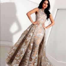 Женское длинное вечернее платье с юбкой годе серое цвета шампанского