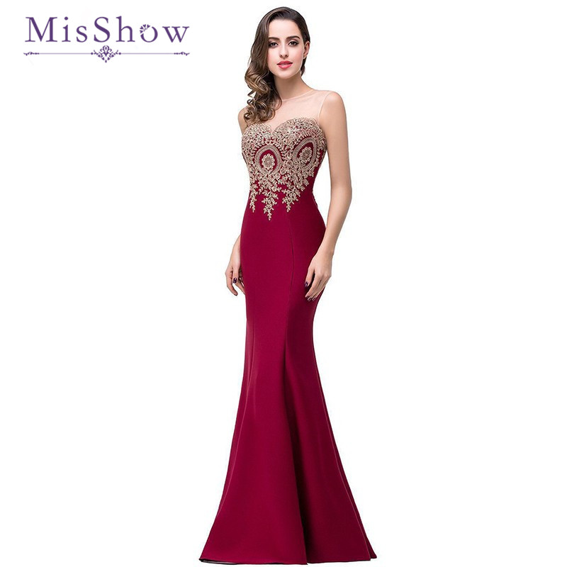 Luxury Burgundy Floor Length   Evening     Dress   Pink O Neck Cheap   Evening   Gowns Sleeveless Mermaid Prom Party Formal   Dresses