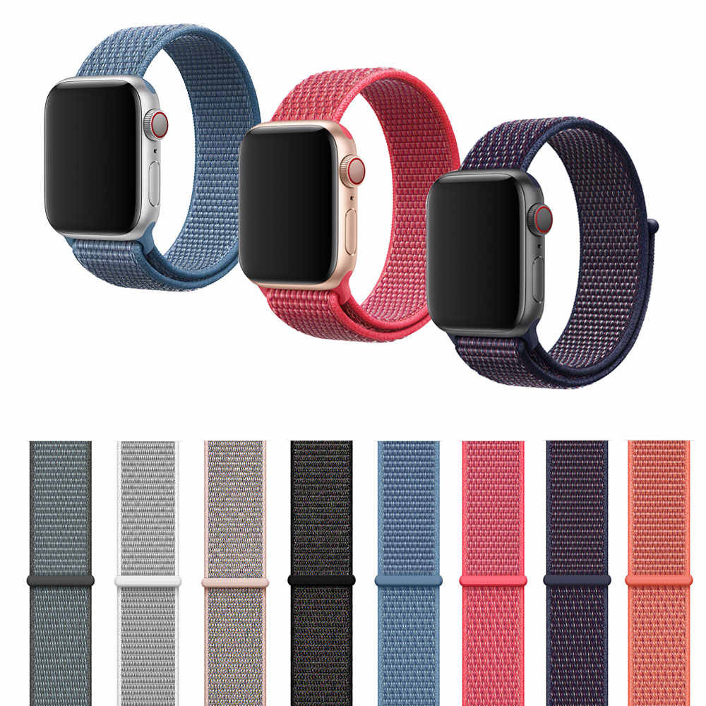Band For Apple Watch Series 4/3/2/1 38MM 42MM Nylon Soft Breathable Replacement Strap Sport Loop for Apple Watch Band 44MM 40MM