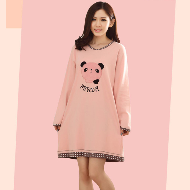 36ec6e7505 Women Embroidery Cartoon Long-Sleeved Cotton Nightdress Pajamas Dress Cute  Printing O-Neck Nightdress Homewear Mini Female Dress