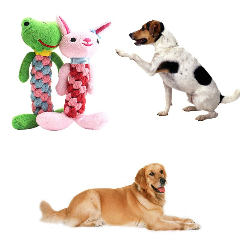Funny Pet Dog Puppy Cat Fleece Chewing Toy Cute Cartoon Animal Shape Sound Dogs Bite Chew Toys Pet Supplies