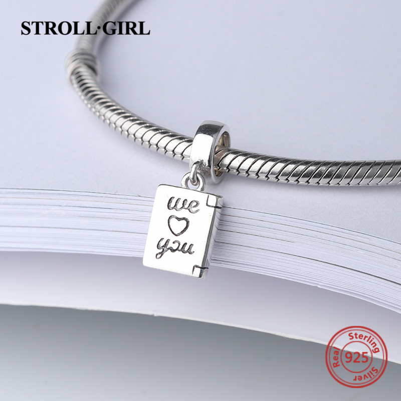 StrollGirl new arrival we love you charms 925 sterling silver beads fit original pandora bracelet diy jewelry making women gifts