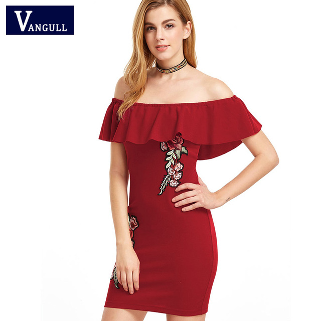 60a9a14fb655 Sexy Black Red Bodycon Dress Slash Neck High Waist Rose Embroidery Frill  Mini Dress Vestidos Off Shoulder Ruffle Zipper Dress