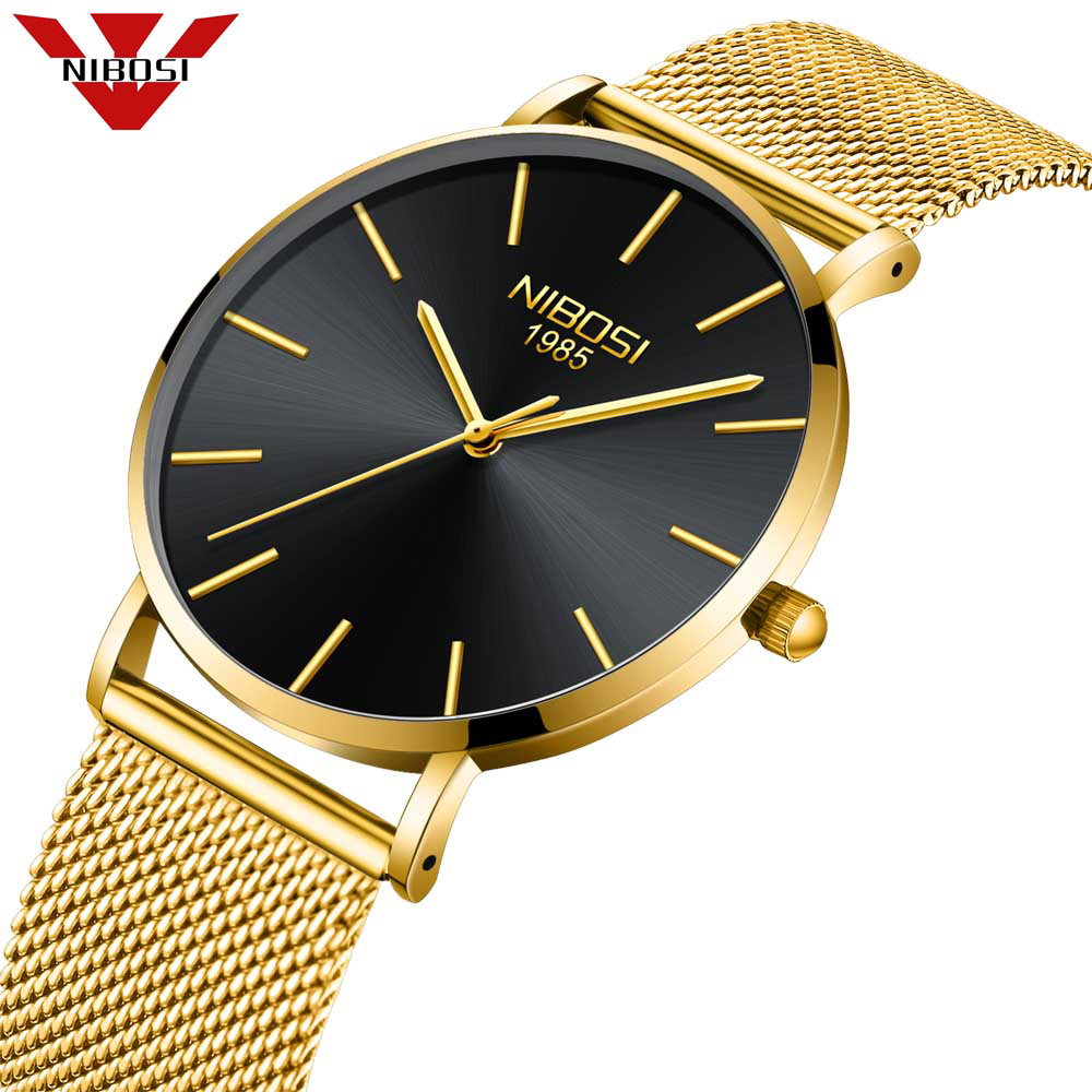 NIBOSI Mens Watches Top Brand Luxury Gold Quartz Men Watch Drop Shipping Mesh Strap Casual Sport Male Relogio Masculino 2018