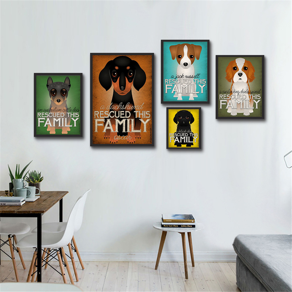 Hanging Wall Art Retro Dog Poster Canvas Painting Rescued This Family Animals Wall Pictures for Living Room Home Decor Kids Gift