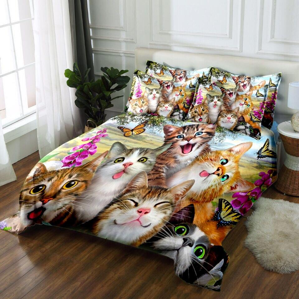 Cats 3D bedding sets bedsheet Duvet Pillowcase bed cover Twin king Queen California king Bed Linen