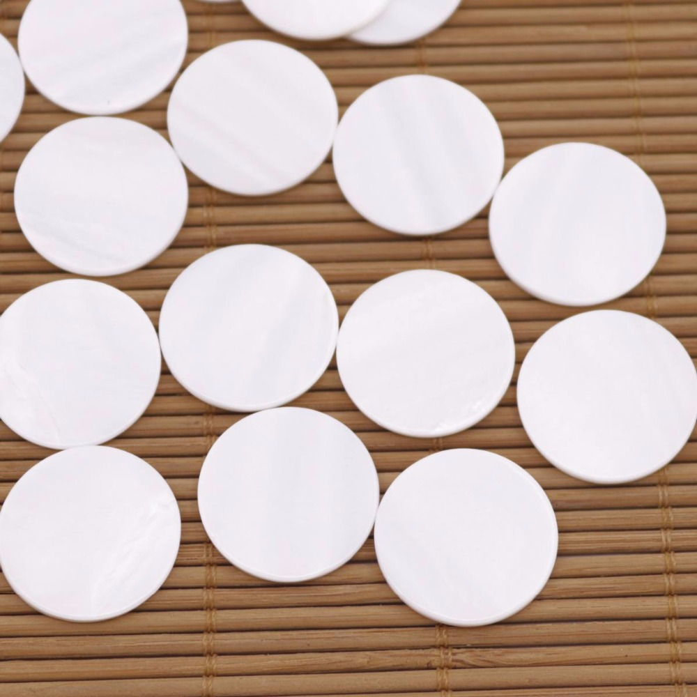 Купить с кэшбэком 50 PCS 20mm  Coin shell Cabochons Natural White Mother of Pearl no hole