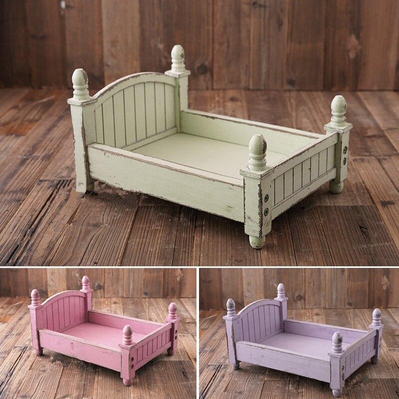 4 couleurs photographie nouveau-né accessoires Mini petit pays lit en bois bébé Photo tir panier pliable meubles pour nouveau-né Pod