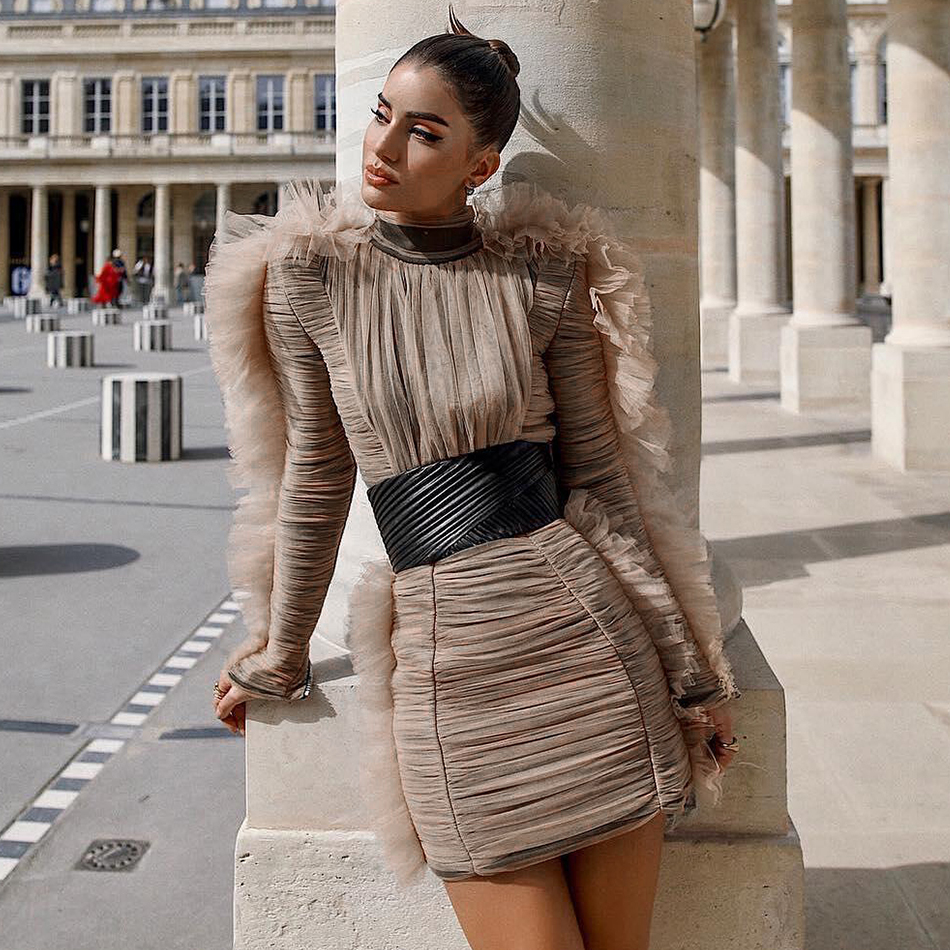 Adyce 2019 New Arrival Women Spring Celebrity Evening Runway Party Dress  Sexy Lace Long Sleeve Mini Luxury Club Dresses Vestidos c23bf57a0b0a