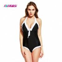 Faerdasi Hot Women One Piece Swimsuit Patchwork Swimwear Black White Bathing Bodysuit Push Up Padded Beachwear