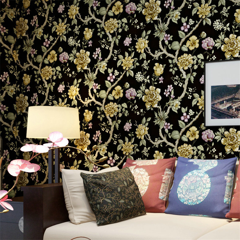 beibehang Non - woven wallpaper Pastoral flower bedroom bedroom living room sofa background wallpaper papel de parede wallpaper beibehang papel de parede retro classic apple tree bird wallpaper bedroom living room background non woven pastoral wall paper