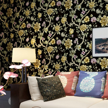 beibehang Non - woven wallpaper Pastoral flower bedroom bedroom living room sofa background wallpaper papel de parede wallpaper papel de parede simple striped non woven wallpaper 3d solid suede bedroom living room hotel tv background wall modern wallpaper