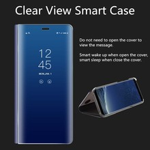 YOJOCK Clear View Flip Case For Samsung Galaxy S7 Edge S8 Plus S6 Edge A3 A5 A7 2017 NOTE 8 Mirror Smart Leather Phone Case