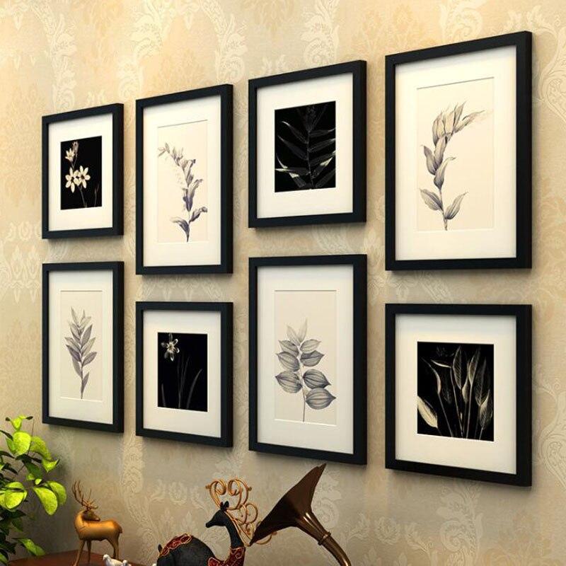 8 unids/set madera Marcos color café negro foto Marcos s pintura ...