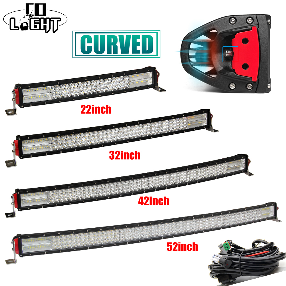 CO LIGHT Offroad Led Bar 22 32 42 52 inch Curved 12D 4 Rows Combo Beam 6500K for 4X4 Lada Uaz Tractor Truck Bus Mining Farm 12V