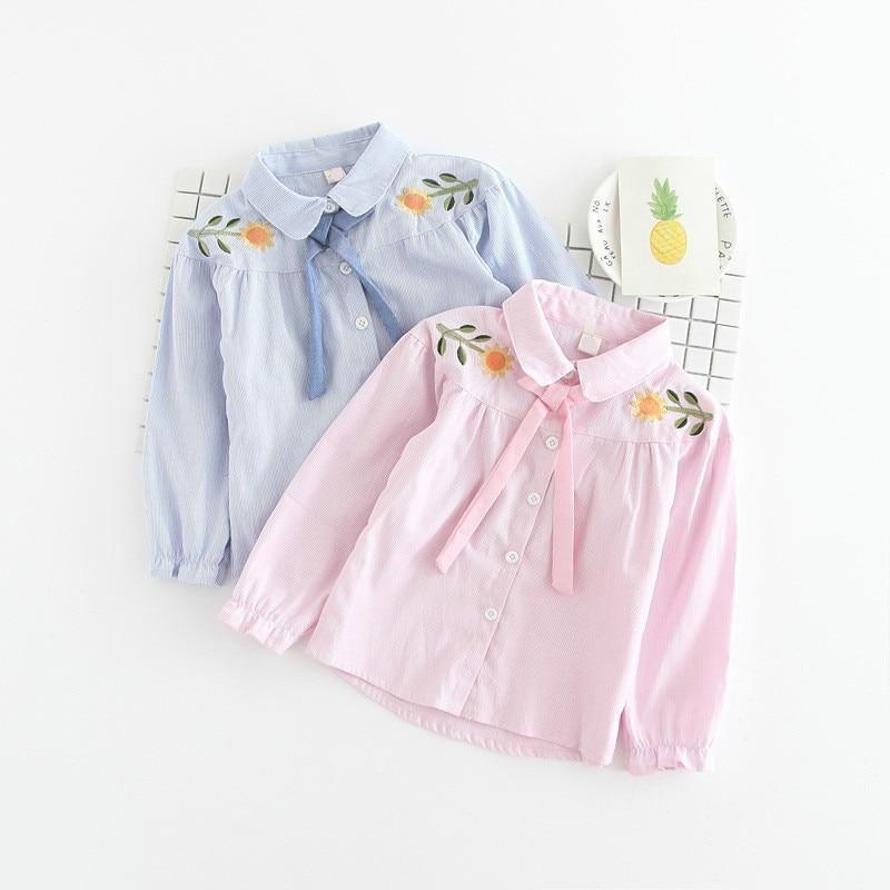 edc03fe58f6 2018 весна детская блузка Осенняя мода для девочек вышитый цветок футболка  с длинными рукавами принцесса синий