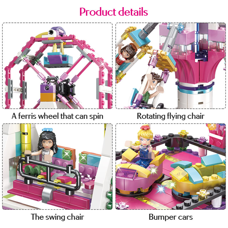 659 PCS Amusement Park Ferris Wheel Rotating Flying Chair Model Building Blocks Legoing Friends Girls Princess Bricks Kids Toys