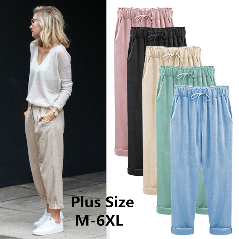 2019   Wide     Leg     Pants   Harem   Pant   Female Trousers Casual Spring Summer Loose Cotton Linen Overalls   Pants   Plus Size Candy Color