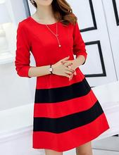 Women dress clothing  Spring summer  Show thin Joining together with long sleeves  Loose women's patchwork dress