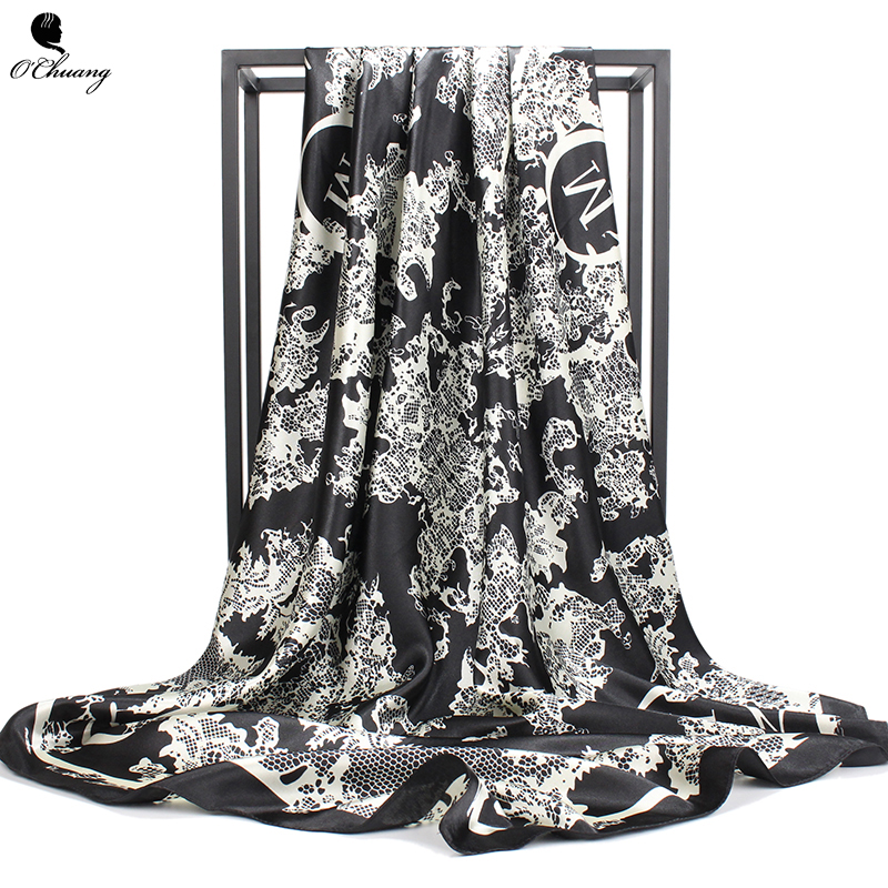 O CHUANG Fashion Silk   Scarf   Black Flower Print Large Luxury Brand   Wraps   Shawl Head Foulard Soie Square Women   Scarves   90X90