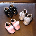 2016 winter new Fashion girls party shoes Liang Pi kids wedding Keep warm foot cute princess Snow boots outdoor Free Shipping