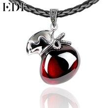 EDI 925 стерлингового серебра и ювелирные изделия марказит Lucky Талисманы тайский серебряный красный натуральный камни гранат Подвески Цепочки и ожерелья для Для женщин