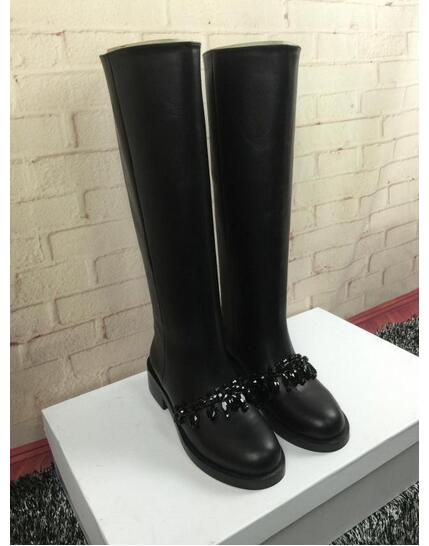 New Arrival 2017 Name Brand Autumn Winter Black Leather Chain Boots Riding Boots Round Toe Chain-Link Knee High Women Boots hanriver autumn and winter new chain