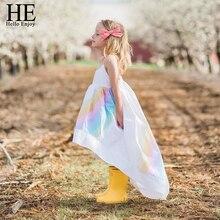 HE Hello Enjoy Kids Clothes Dresses For Girls Summer Condole Belt Rainbow Sea Beach Princess Dress Clothing