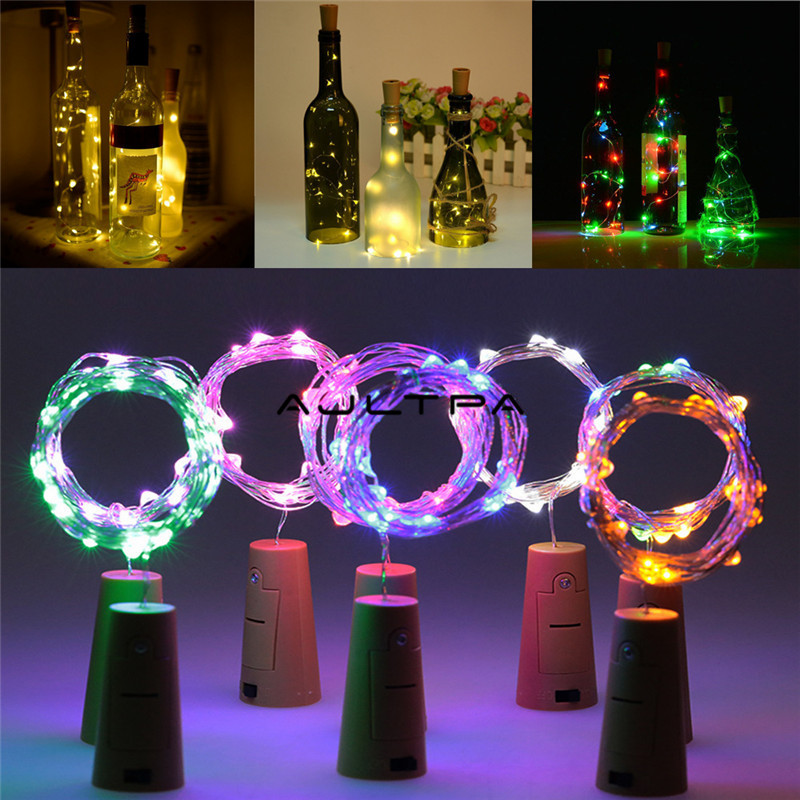 1000pcs 2M 20 LEDS Wine Bottle Lights With Cork Built In Battery LED Cork Shape Silver Copper Wire Colorful Mini String Lights