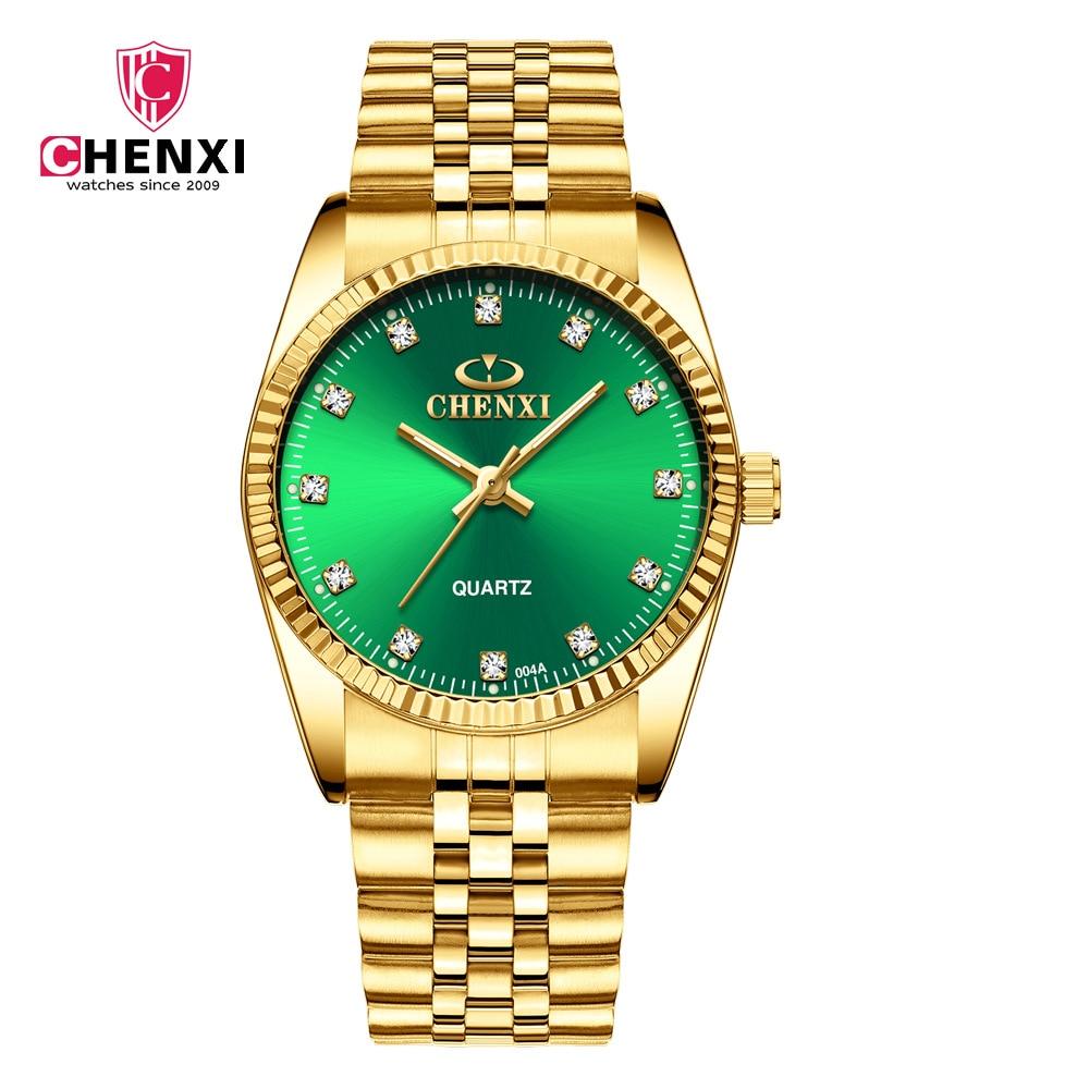 Fashion Chenxi Brand Golden Clock Gold Men Watch Full Stainless Steel Quartz WatchesWholesale Men Woman Lovers WristWatches 004A