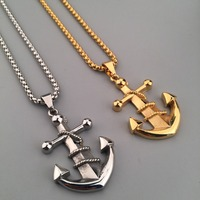 New Fashion Nautical Jewelry 18K Gold Silver Plated Anchor Pendant Necklace Anchor Cross Charm Necklace Jewelry