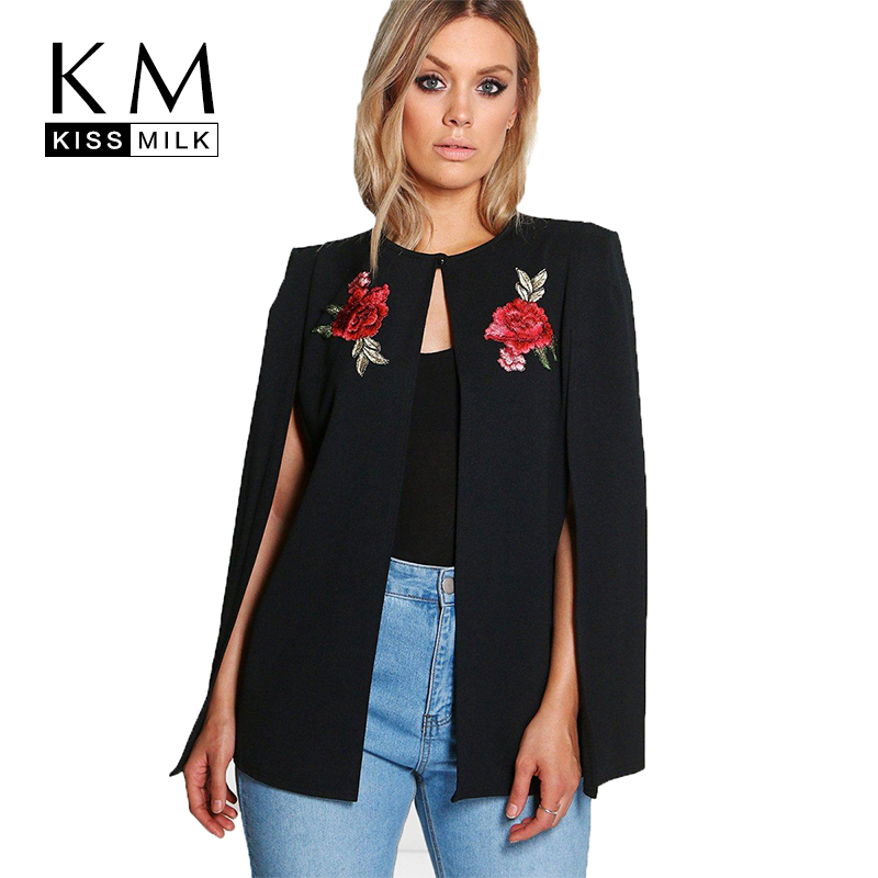 Kissmilk Women Plus Size 2018 New Floral Embroidery Open Stitch Solid Long Sleeve Basic Casual Office Lady Cloak Coat