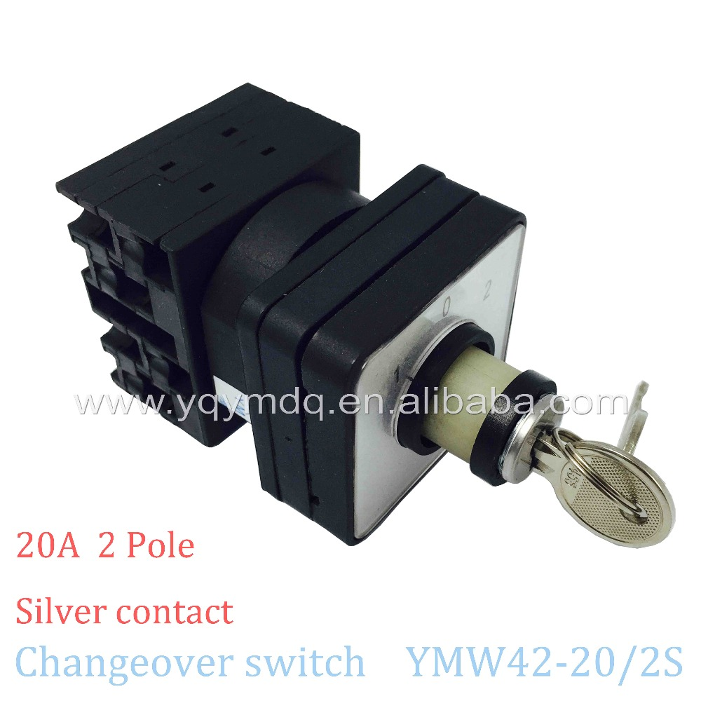 Rotary switch 3 position YMW42-20/2S with key 2 poles 20A 8 terminal screw black universal changeover cam switch silver contact china supplier changeover switch 63a 3 position 2 poles electric switch with protective cover box