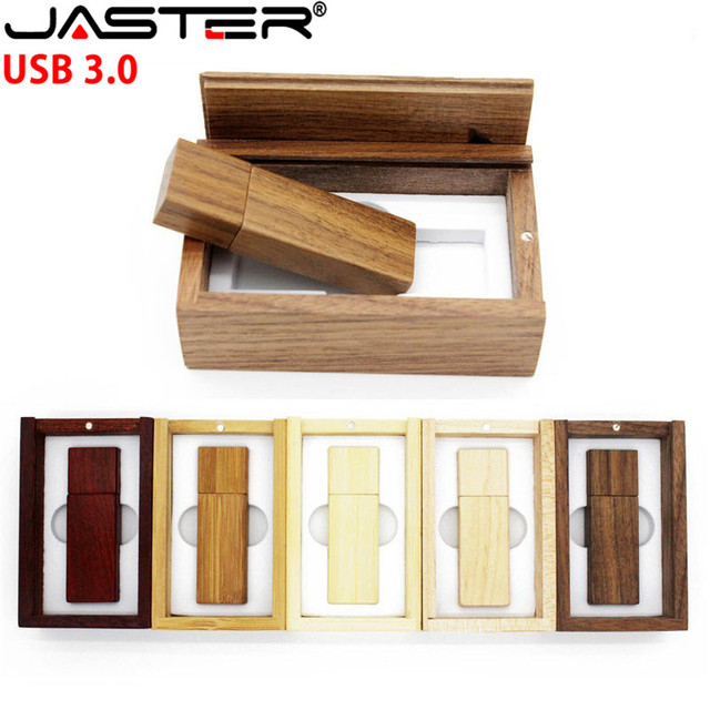 JASTER Photography Customer LOGO wooden usb + gift box usb flash drive usb 3.0 wood pendrive 8GB 16GB 32GB 64GB wedding gifts