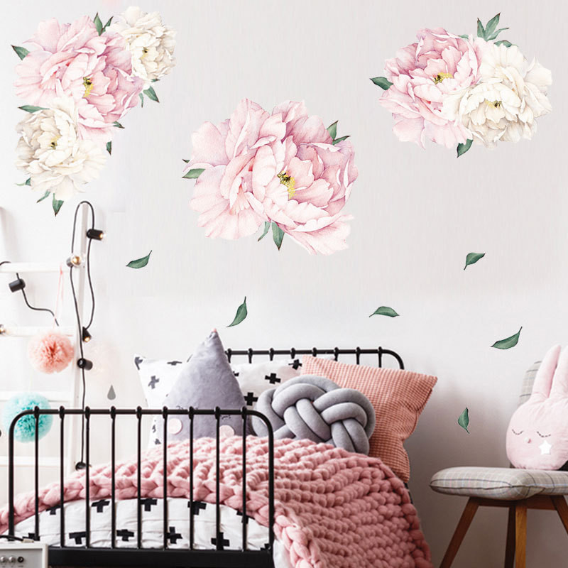 1PCS 3D Peony Wall Stickers For Living Room Bedroom 40*60CM Room Decals Rose Peony Mural Home Decoration Wallpaper