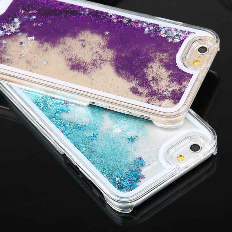 Funda For iphone 6 6 s Coque iphone 7 8 Case Matte Hard PC Glitter Liquid Quicksand Phone Case For iphone 5s se 5 6s Back Cover