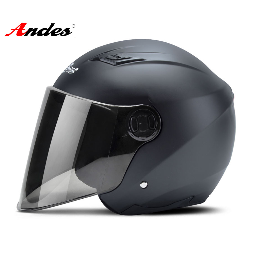 Andes Motorcycle Helmet 3/4 Open Face Helmet Scooter Filp Up Lenses Motocross Helmet Casco Moto With LED Light Helmet Motorcycle
