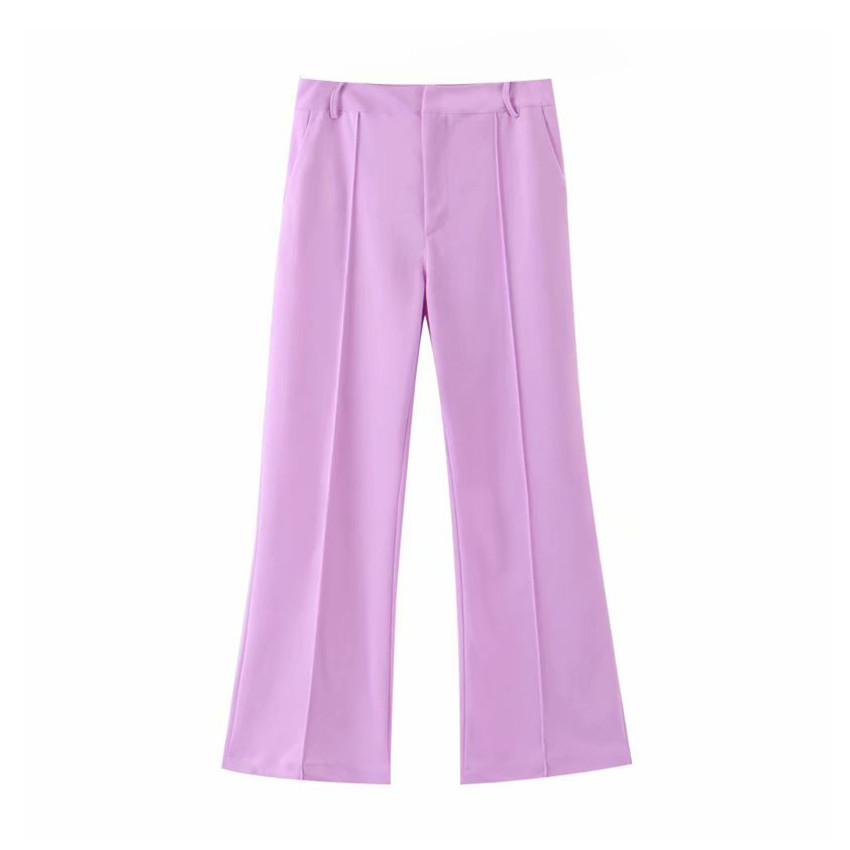 fashion women purple   wide     leg     pants   office ladies pockets full length trousers female long pantalones