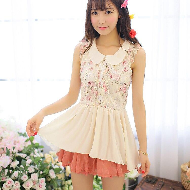 Princesse douce lolita blouse & chemise oncle fleuriste avant longtemps après poupée courte floral bourgeon soie mousseline jupe veste UF108