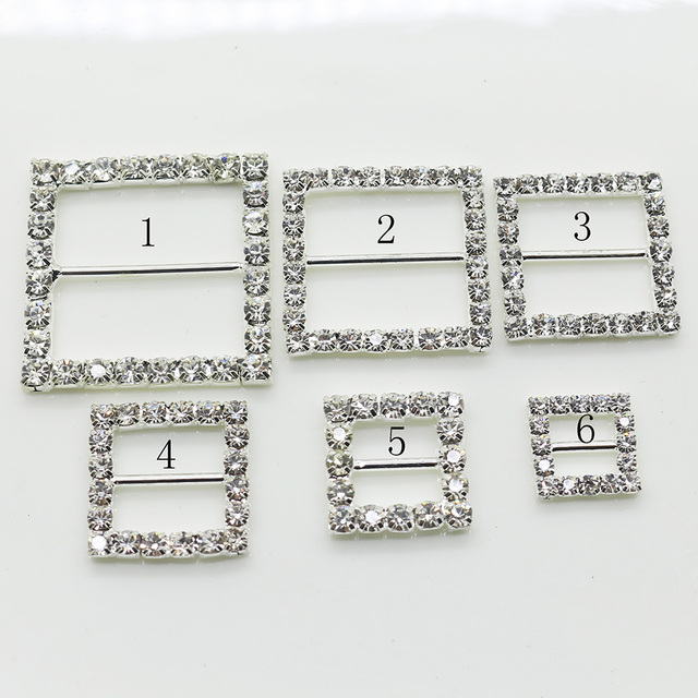 Shiny Square 10pc silver Rhinestone Buckle Diamante Ribbon Slider Wedding  Invitation card Decoration buckles metal crystal 76ebb18f75e5