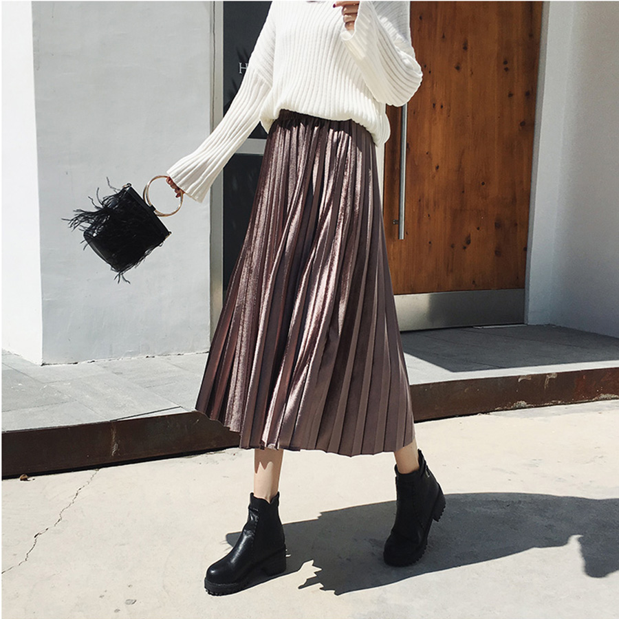 Spring Autumn Skirts Women 2019 New Fashion High Waisted Hot Female Streetwear Long Skirt Harajuku Women's Pleated Slim Skirt