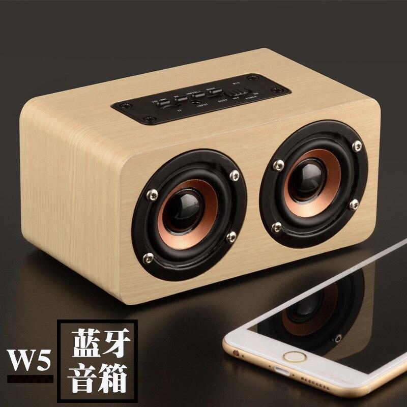 W5 rétro en bois Bluetooth haut-parleur sans fil haut-parleur 3D double haut-parleurs Support TF carte stéréo musique USB charge
