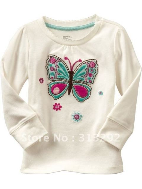 BT59, Butterfly,  Wholesale, Children T Shirt, 100% Cotton long sleeve T shirts clothing for 1-5 year.